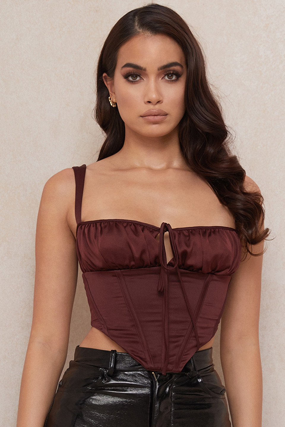 Betsy Raisin Satin Cropped Corset