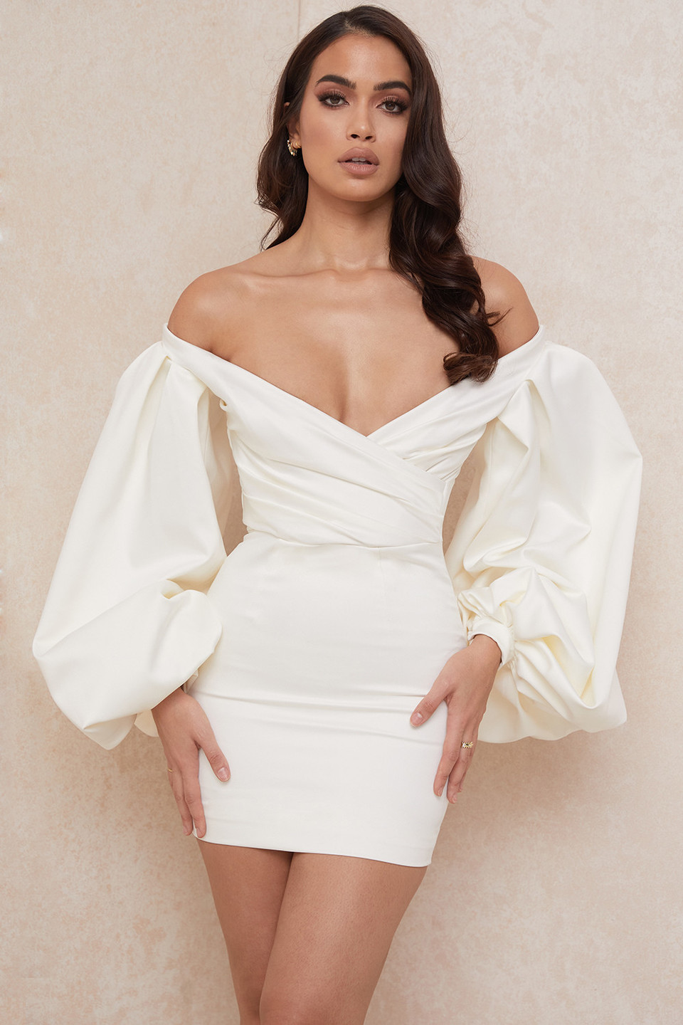 Carlyn Ivory Satin Balloon Sleeve Mini Dress