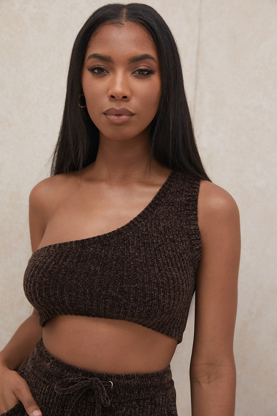 Charlie Chocolate Chenille One Shoulder Crop Top