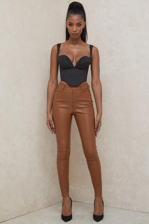 Cora Tan Vegan Leather Trousers