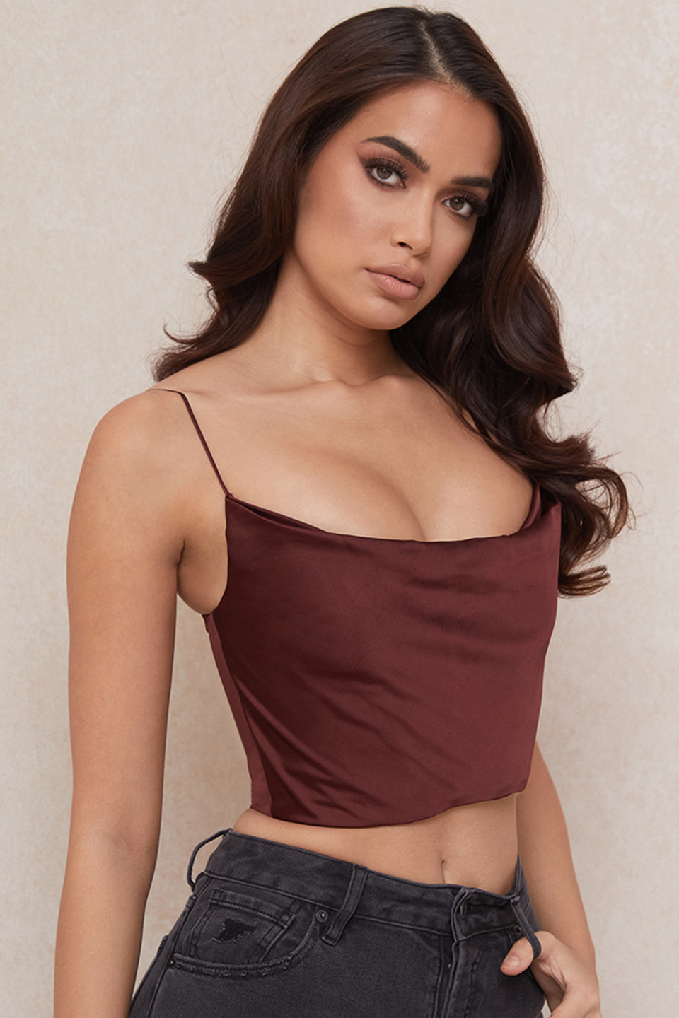 Dana Raisin Draped Satin Corset Top
