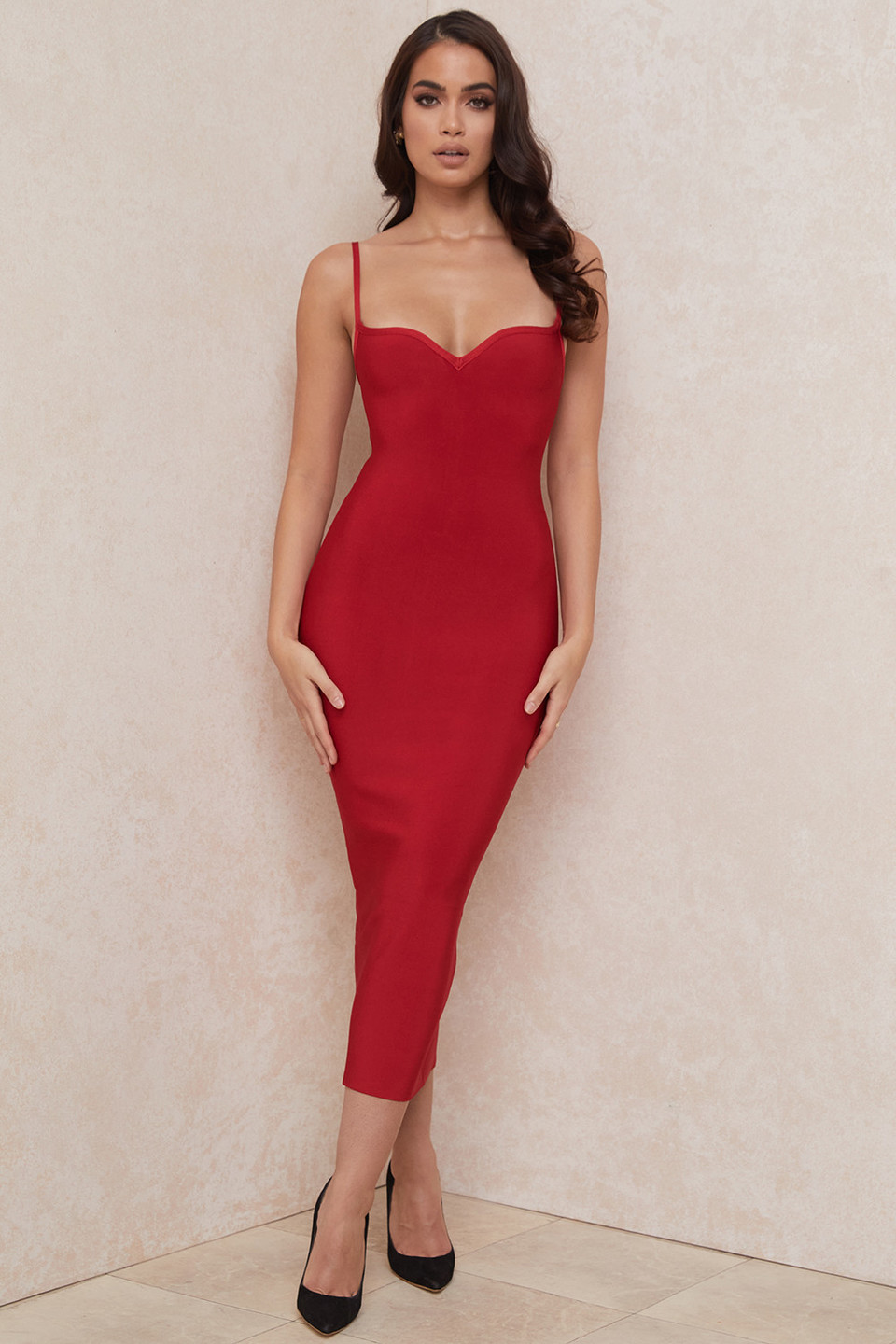 Domenica Red Sweetheart Neckline Bandage Dress