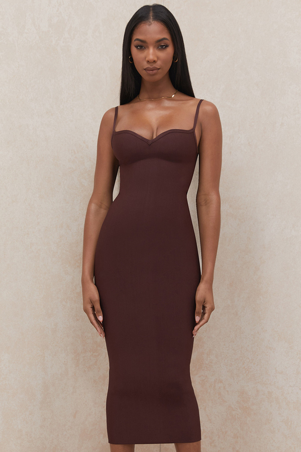 Domenica Raisin Sweetheart Neckline Bandage Dress