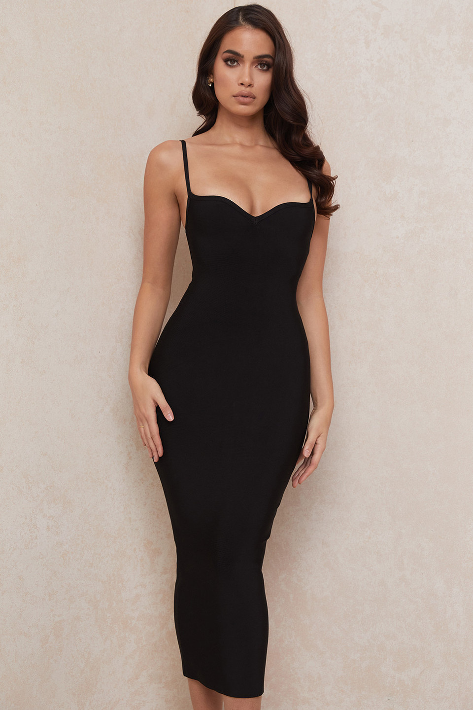 Domenica Black Sweetheart Neckline Bandage Dress