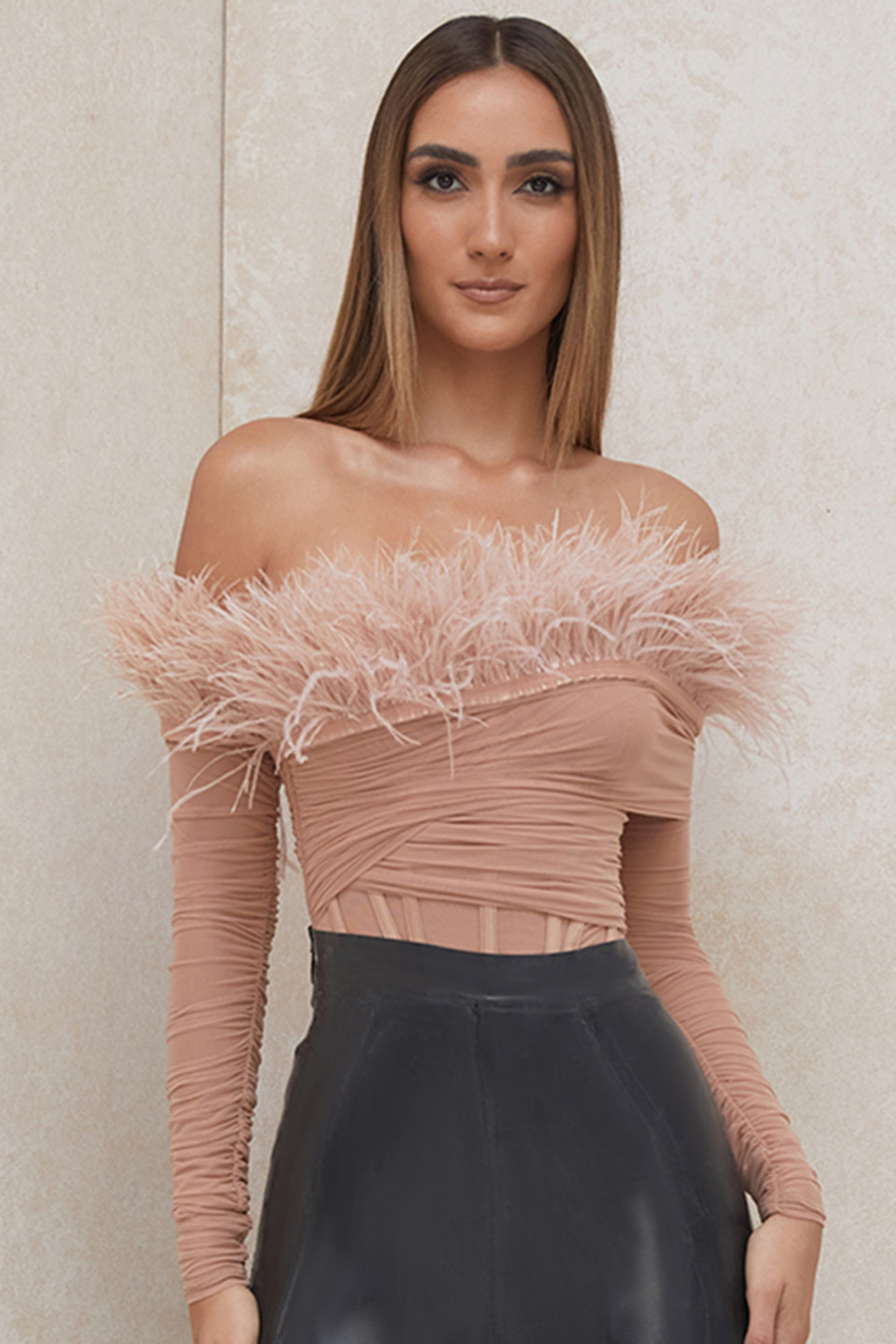 Faith Blush Off The Shoulder Feather Bodysuit