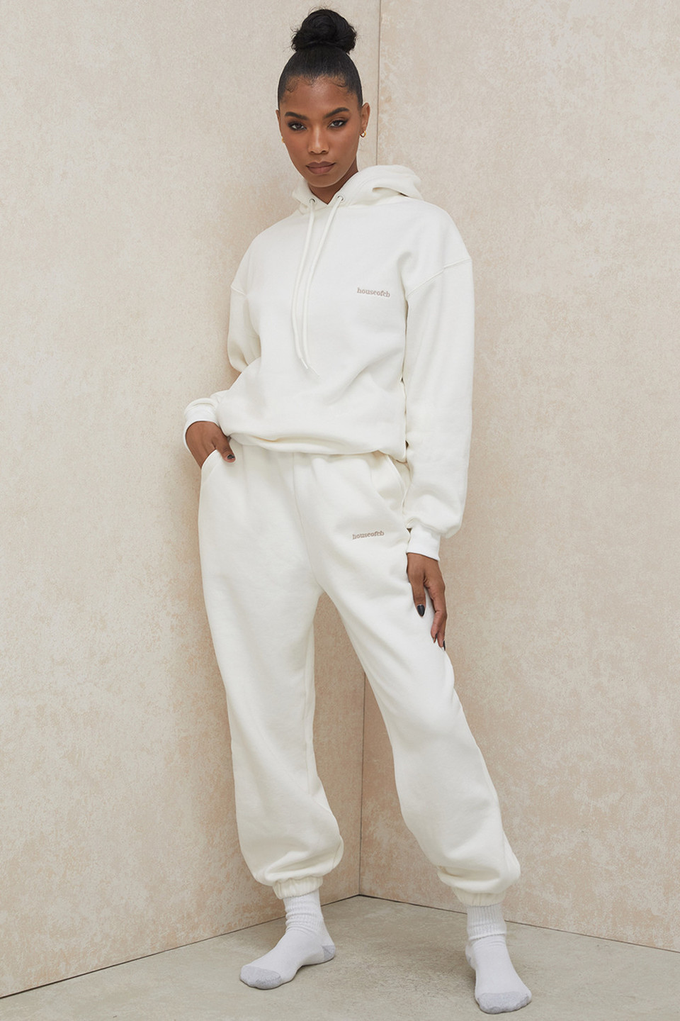 Sky Off White Brushback Jogging Trousers