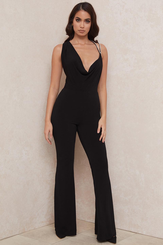 Luciella Black Crystal Strap Jumpsuit
