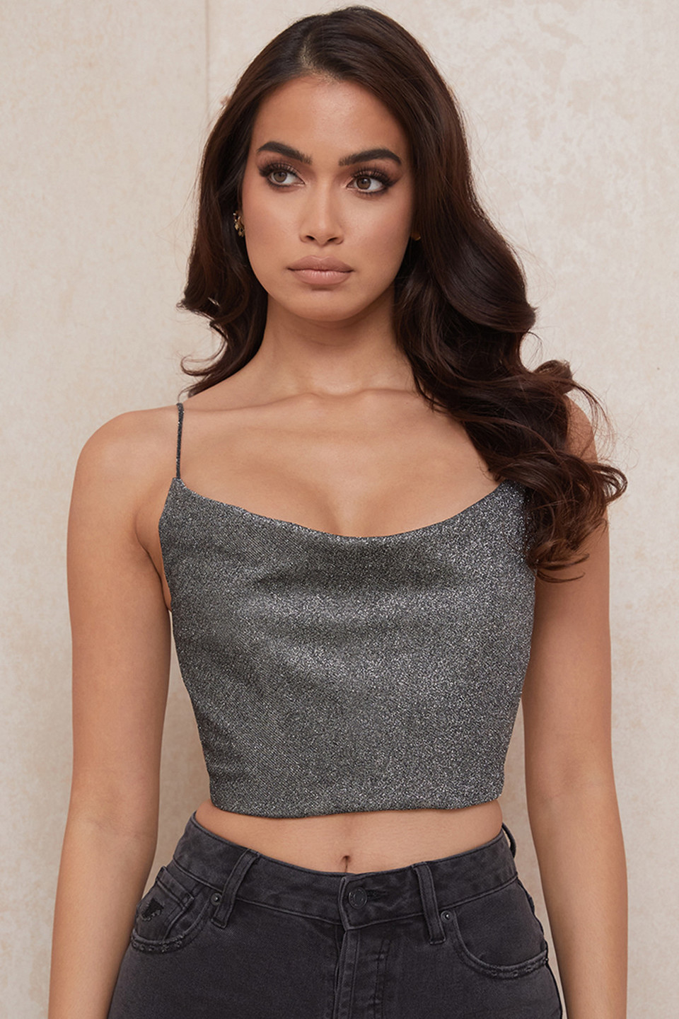 Lulia Silver Crop Top