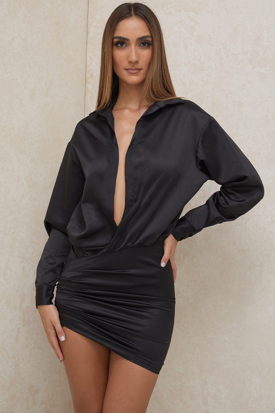 Maddie Black Satin Draped Mini Dress