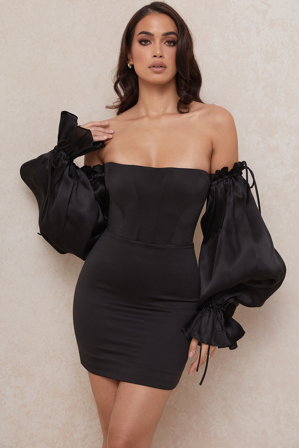 Marisa Black Satin Corset Dress
