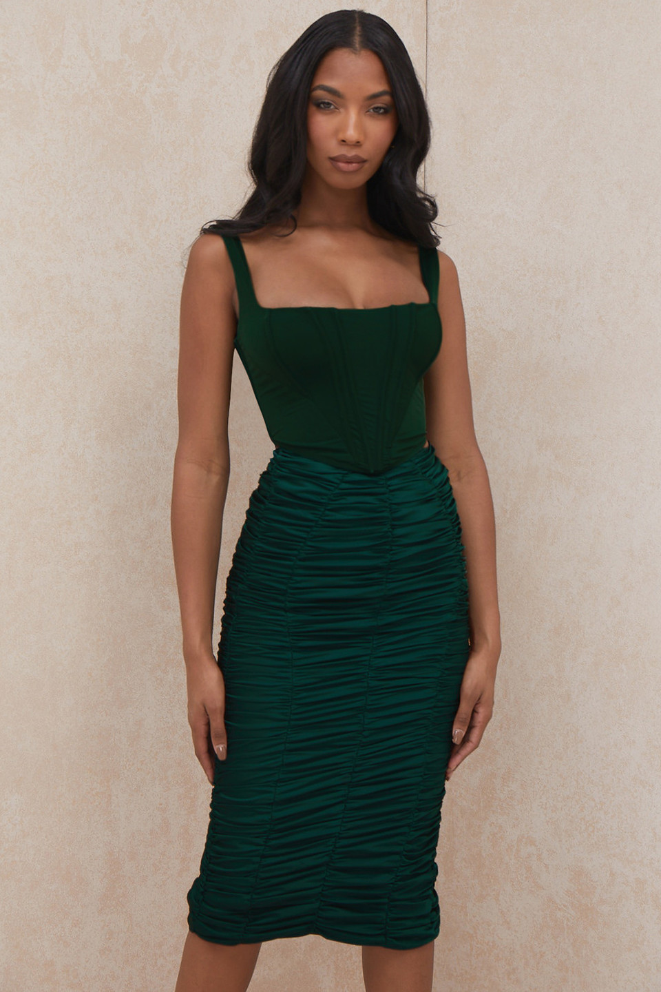 Mera Emerald Green Ruched Midi Skirt