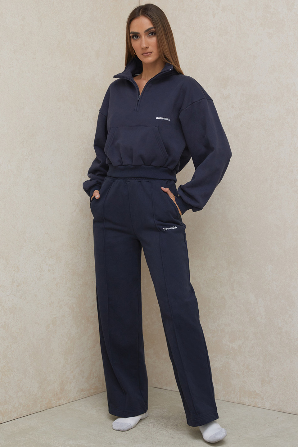 Dina Navy Straight Leg Sweat Pants