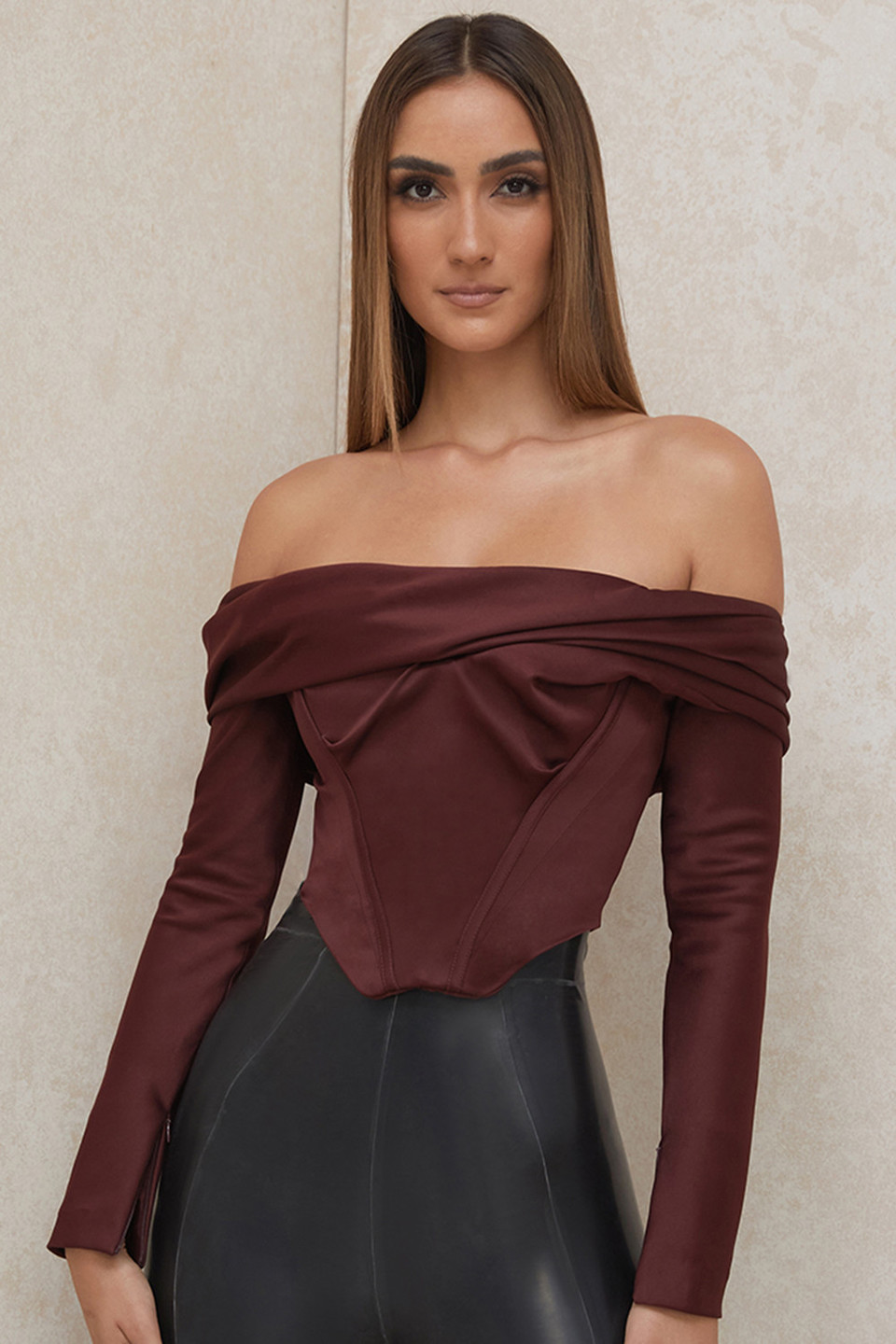 Morgan Raisin Satin Off Shoulder Draped Corset