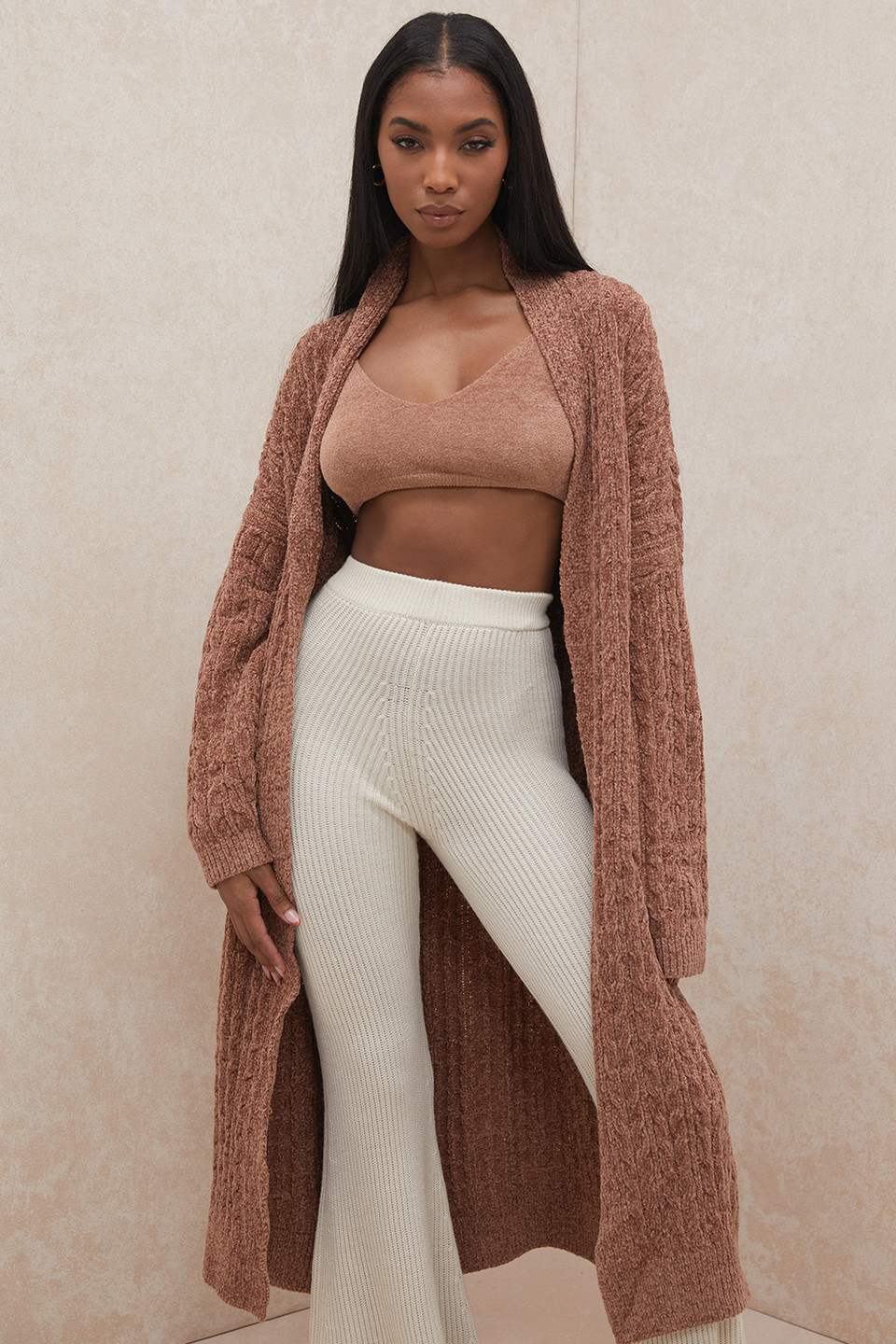 Natasha Toffee Oversized Chenille Cable Knit Cardigan