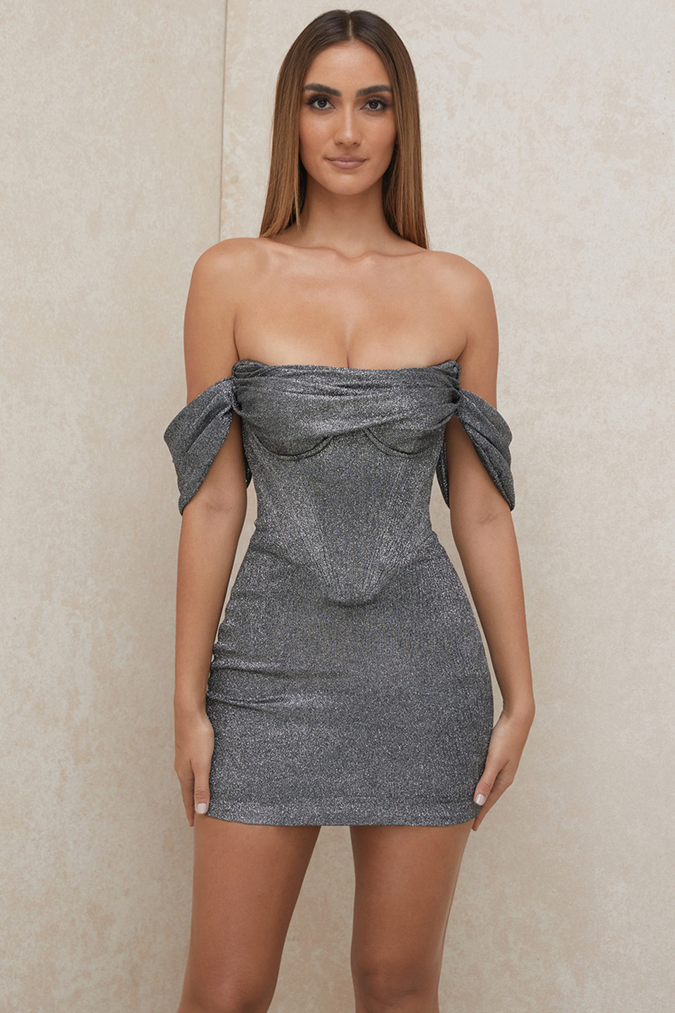 Ophelia Silver Off Shoulder Corset Mini Dress
