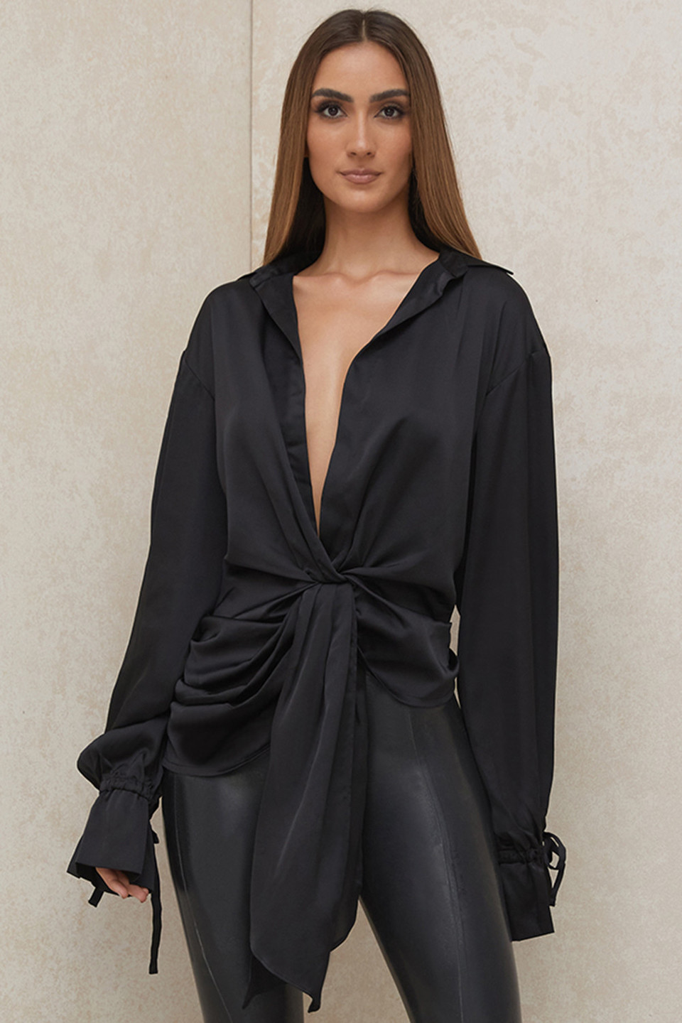 Payton Black Satin Drape Shirt