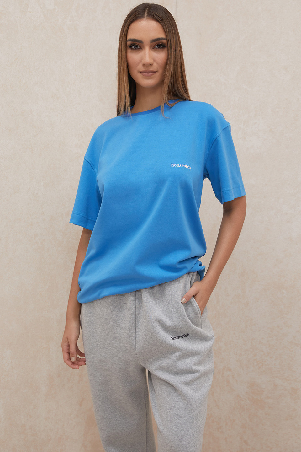 Quinn Blue Oversized Cotton Jersey T Shirt