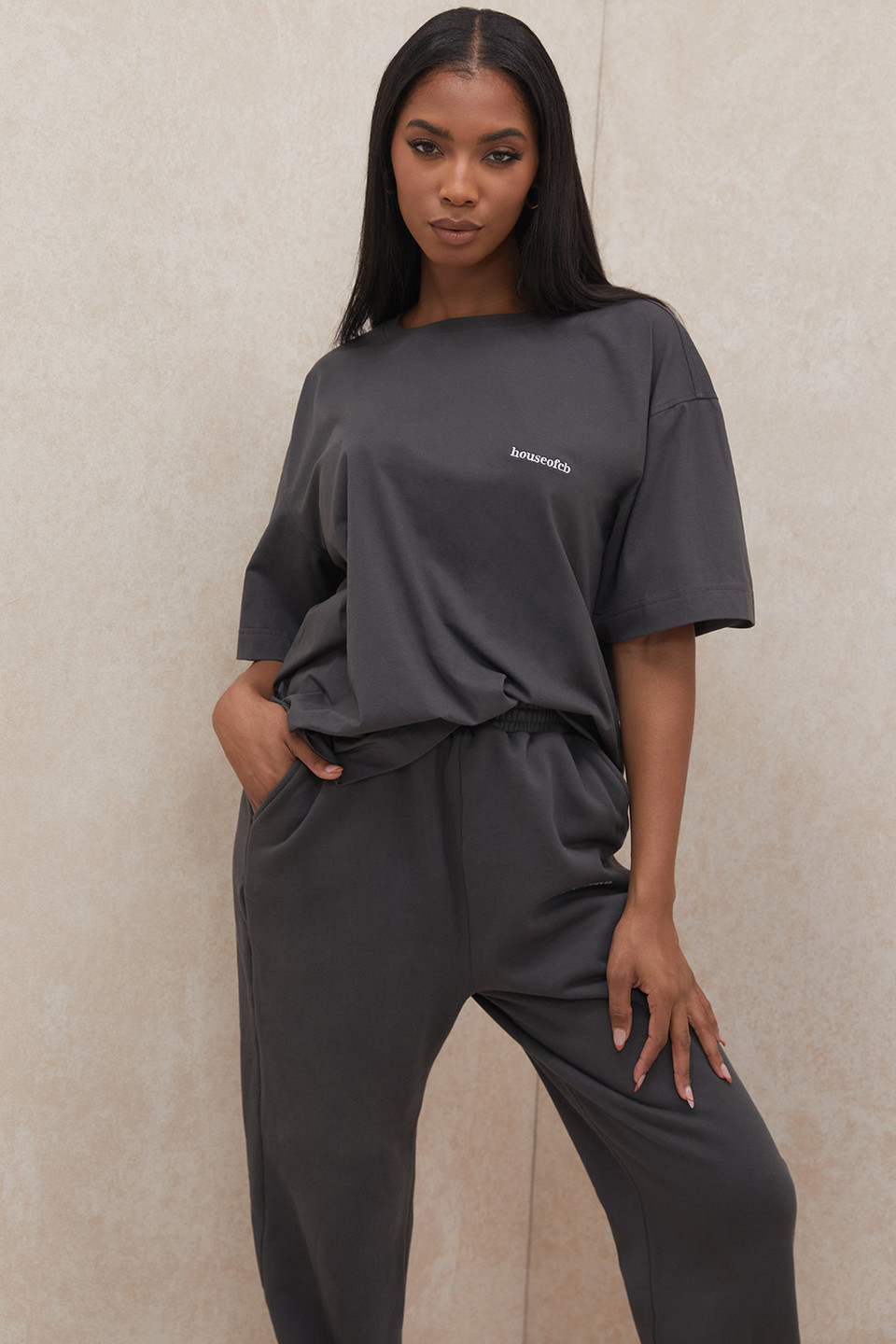 Quinn Charcoal Oversized Cotton Jersey T Shirt