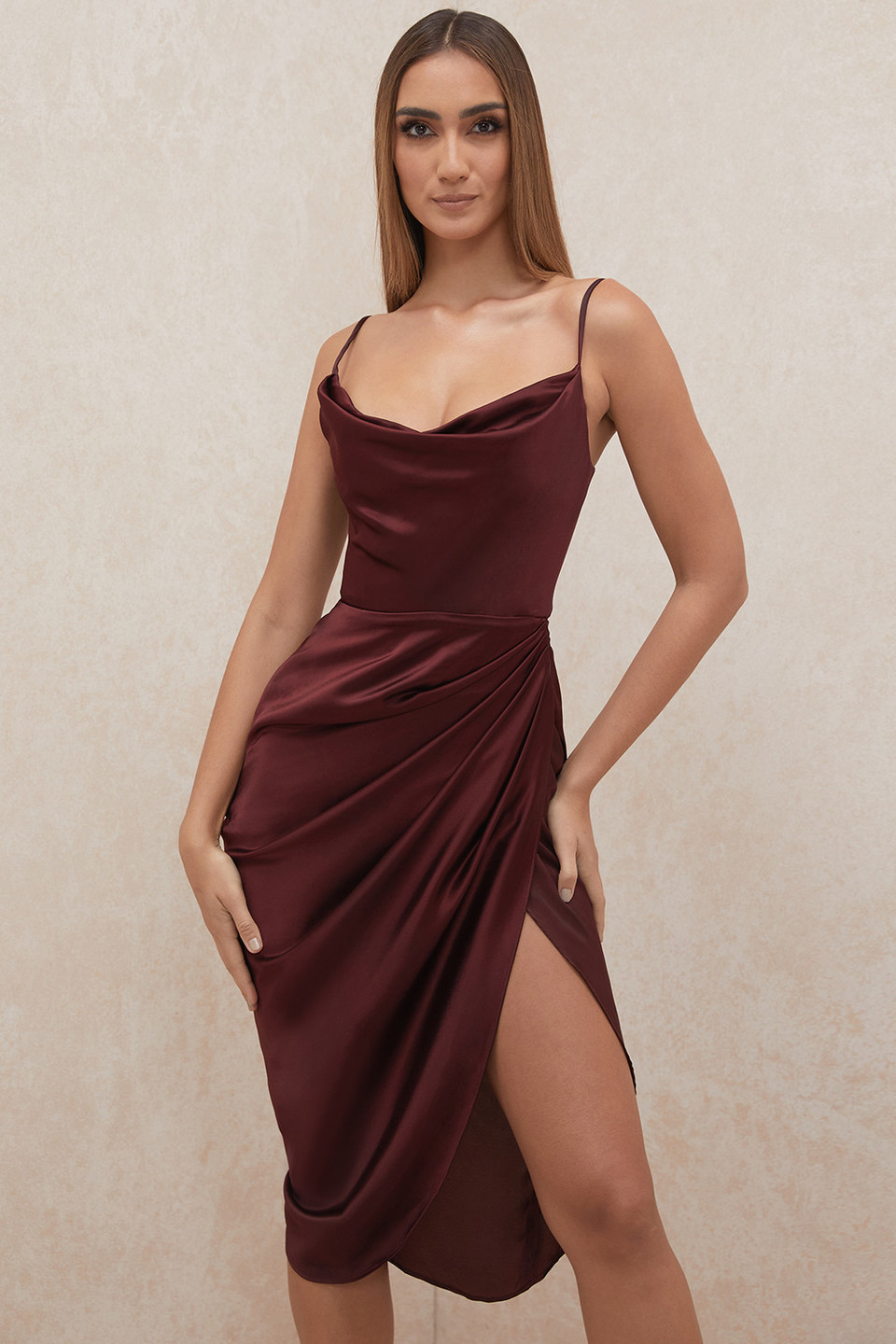 Reva Raisin Satin Balcony Corset Dress