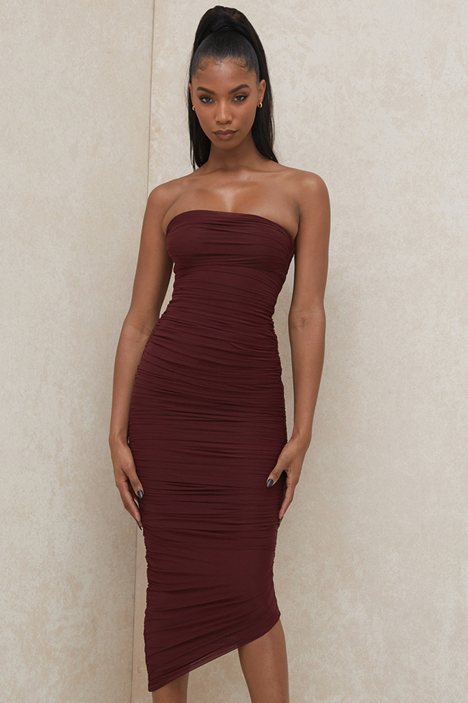 Sasha Raisin Strapless Ruched Midi Dress