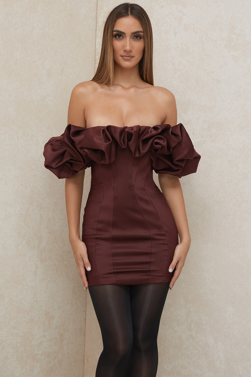 Selena Raisin Satin Ruffle Strapless Dress