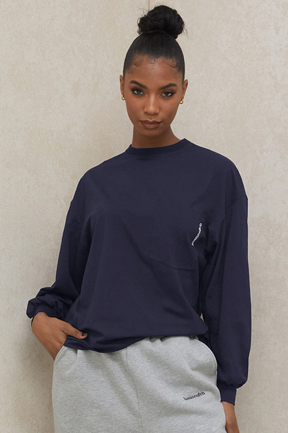 Strata Navy Long Sleeve Top
