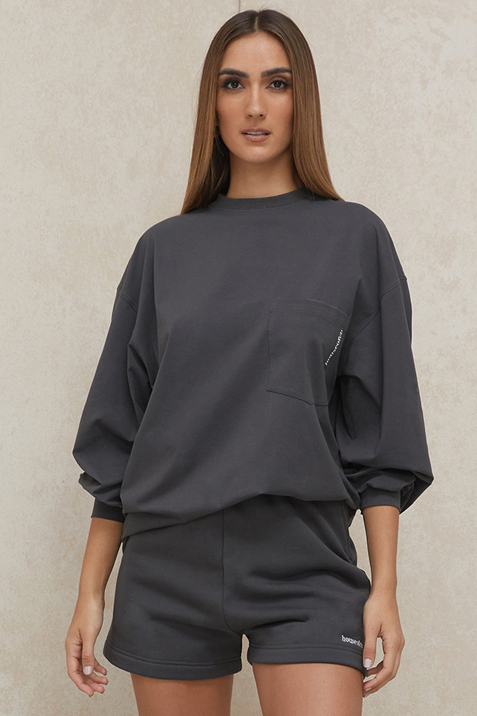 Strata Charcoal Long Sleeve Top