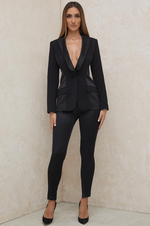 Theodora Black Satin Skinny Fit Trousers
