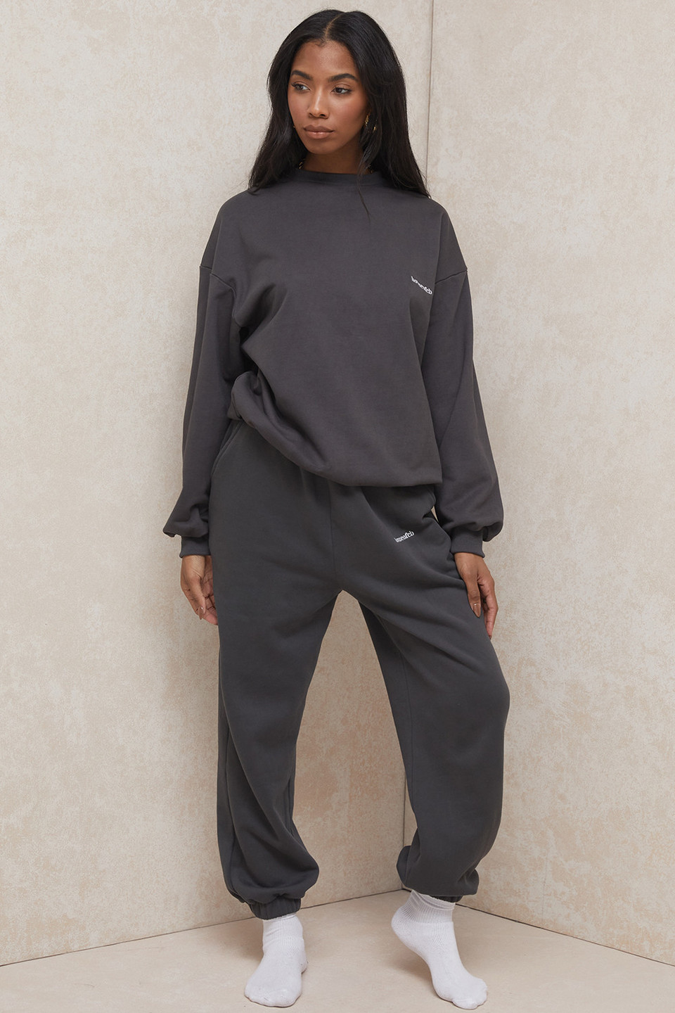 Sky Charcoal Brushback Jogging Trousers