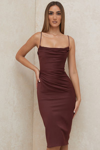 Anja Raisin Satin Corset Midi Dress