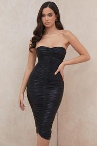 Marli Black Strapless Ruched Dress
