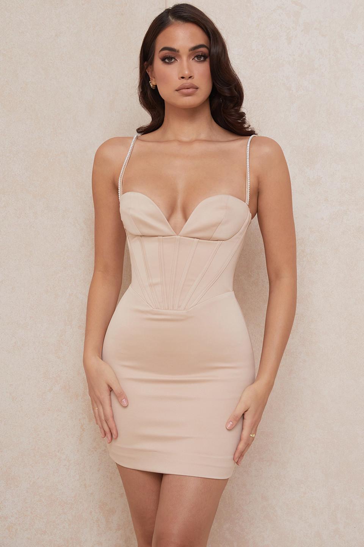Cordelia Beige Corset Mini Dress with Crystal Straps
