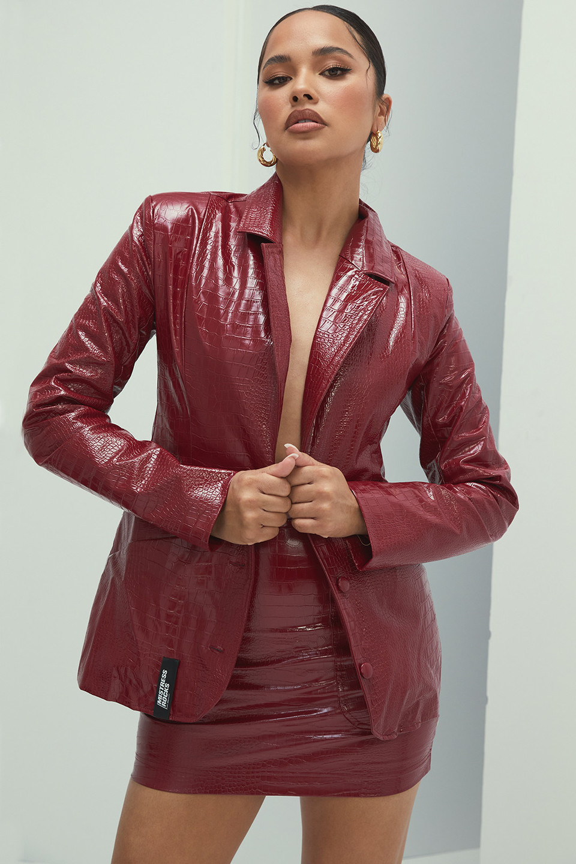 Gracious Wine Vegan Leather Tailored Blazer