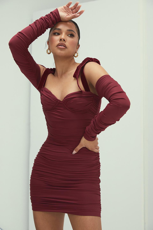 Heavenly Wine Ruched Mini Dress