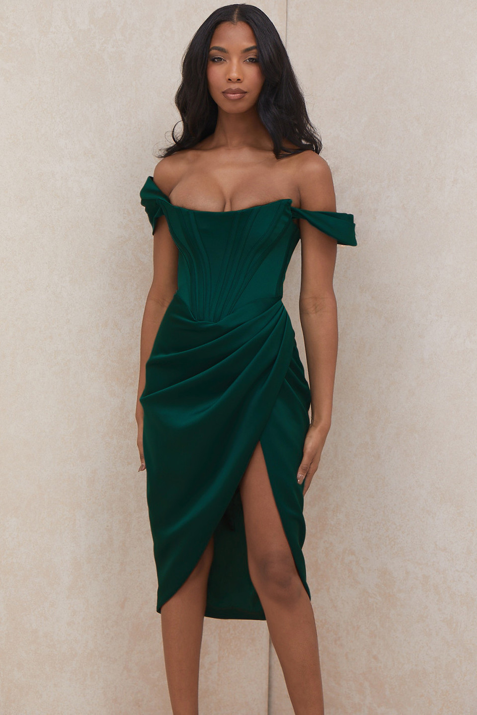 Loretta Green Satin Off Shoulder Dress