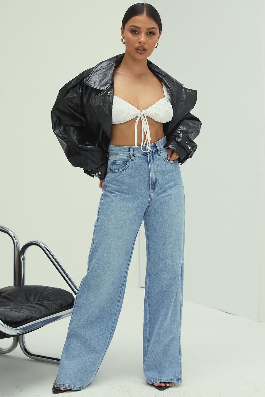 Caption High Waist Vintage Wash Straight Cut Jeans