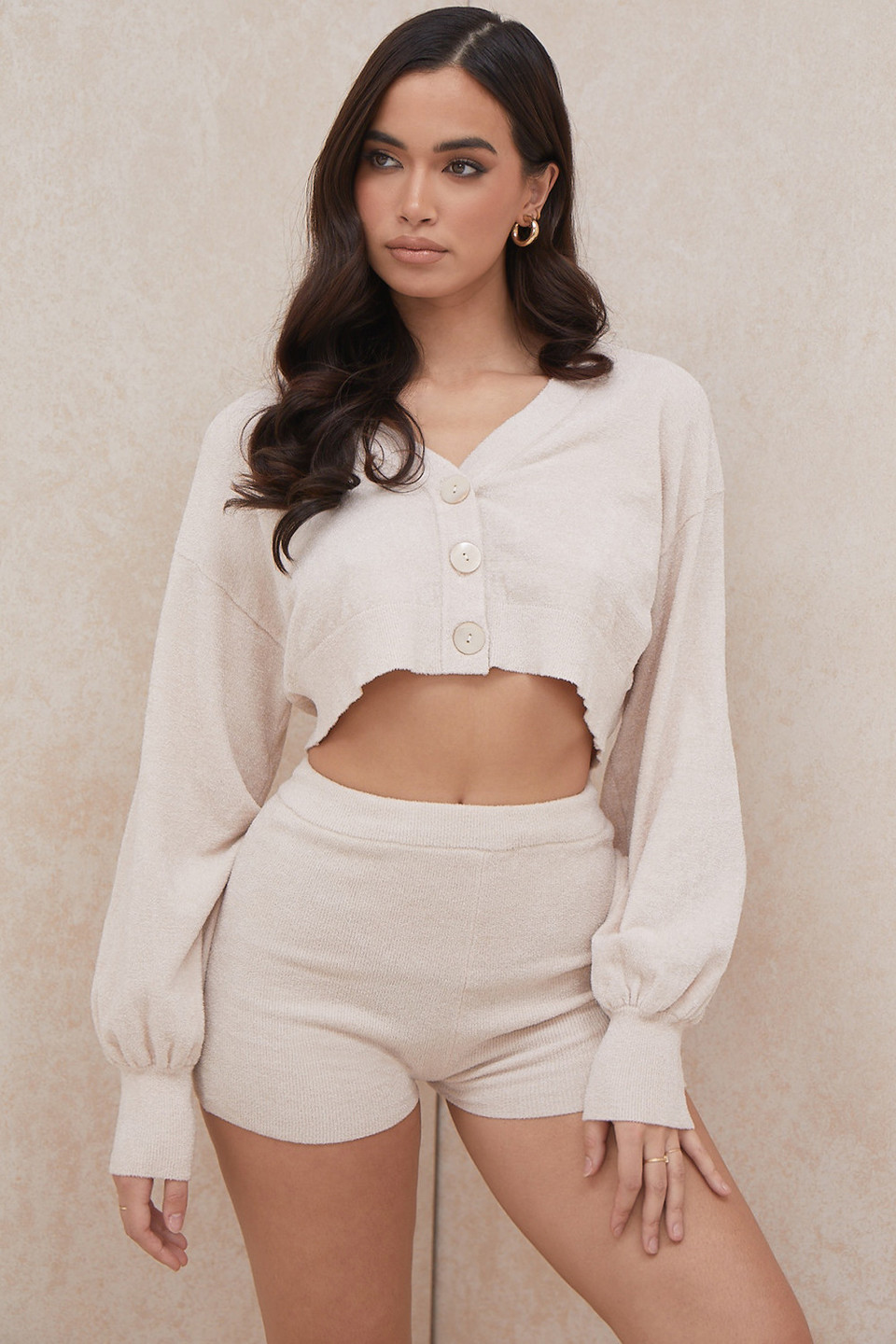 Meryl Cream Cropped Boxy Cardigan