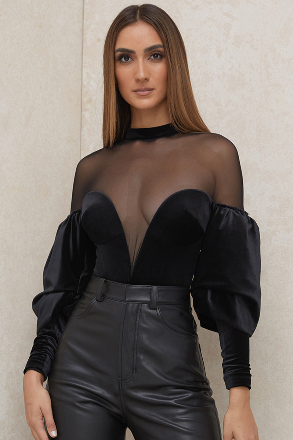 Monique Black Velvet and Tulle Bodysuit