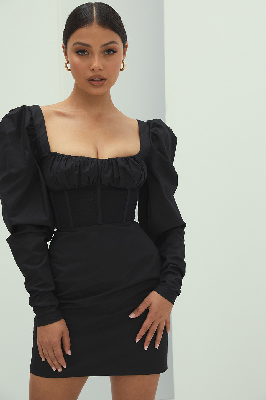 Perfect Match Black Puff Sleeve Corset Dress