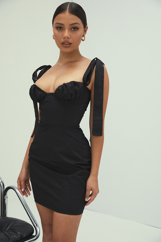 Queen Black Twill Mini Dress