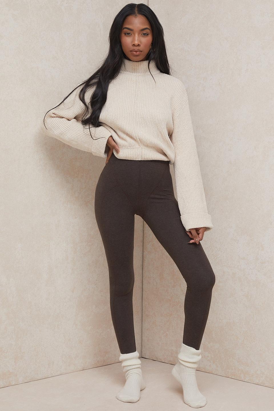 Asmara Chocolate Jersey Ultra High Waist Coverstitch Leggings