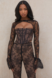Brielle Black Lace Peplum Sleeve Corset Top