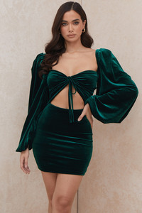 Abigail Emerald Green Velvet Mini Dress