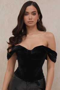 Angelica Black Velvet Draped Corset