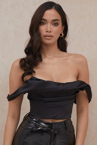 Carella Black Satin Draped Corset
