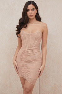 Czarina Beige Lace Strapless Corset Dress