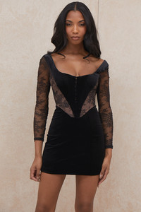 Elena Black Velvet and Lace Corset Dress