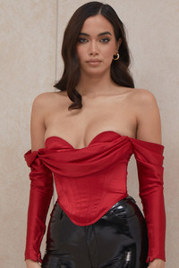 Gala Red Satin Long Sleeved Corset