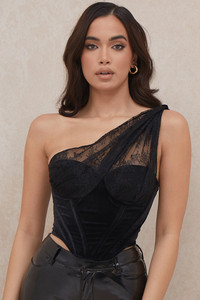 Issa Black Velvet Lace Corset
