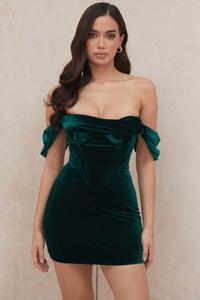 Jolanda Emerald Green Off Shoulder Mini Dress